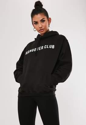 Missguided Black Hangover Club Hoodie