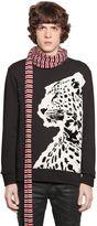 Just Cavalli Printed & Flocked Cotton Sweatshirt