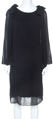 Chloé Dark Navy Blue Crepe Shoulder Tie Detail Midi Dress S