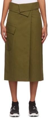Kenzo Khaki Soft Cotton Drill Wrap Skirt