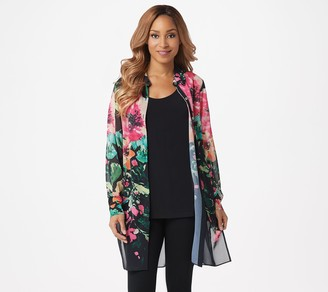 Dennis Basso Printed Chiffon Button-Front Duster and Tank