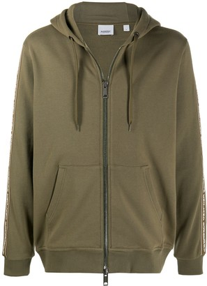 Burberry Logo Tape Zip-Up Hoodie