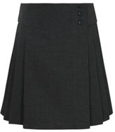 George Girls Grey School Heart Button Pleated Skirt