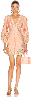 Zimmermann Zinnia Scallop Mini Dress in Coral Floral | FWRD