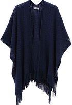 soul young Women's Knitted Blanket Kimono Poncho Cape Shawl Wrap