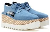 Stella McCartney Elyse cut-out denim platform derby shoes