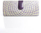 Rafe New York Multicolor Straw Snakeskin Trim Single Chain Strap Clutch Handbag