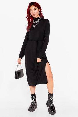 Nasty Gal Womens Tee BT Belted Midi Dress Long Sleeve - Black