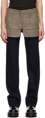 Stefan Cooke Navy Wool Houndstooth Trousers