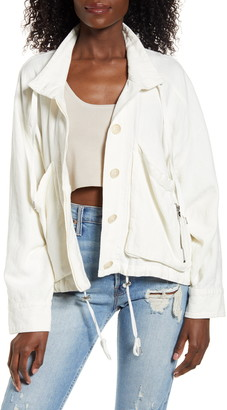 Blanknyc Denim Linen Blend Utility Jacket