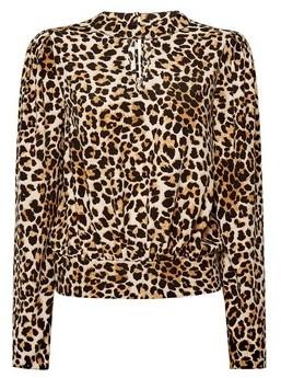 Dorothy Perkins Womens Brown Leopard Print High Neck Top, Brown