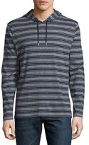 Lacoste Striped Cotton Hooded Sweatshirt, Navy Blue Mouline
