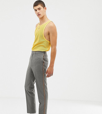 Collusion Tall tapered check trouser with side stripe
