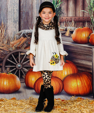 Mia Belle Girls Girls' Leggings Oatmeal - Oatmeal Leopard Pumpkin Bell-Sleeve Dress Set - Toddler & Girls