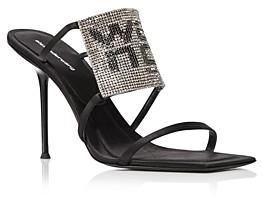 Alexander Wang Women's Julie Square Toe Rhinestone Logo High Heel Sandals