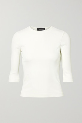 Gold Sign The Rib Stretch Cotton-blend Jersey Top