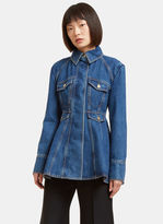 Ellery Women's Pro Protest Peplum Denim Jacket in Blue