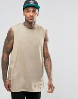 Asos Oversized Sleeveless T-Shirt With Raw Edge Armhole In Brown