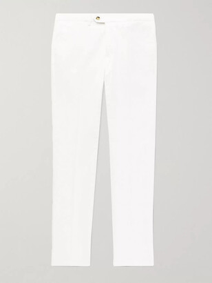 Canali Slim-Fit Stretch-Cotton Twill Chinos - Men - White