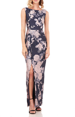 Kay Unger New York Cameron Sleeveless Textured Floral Jacquard Column Gown