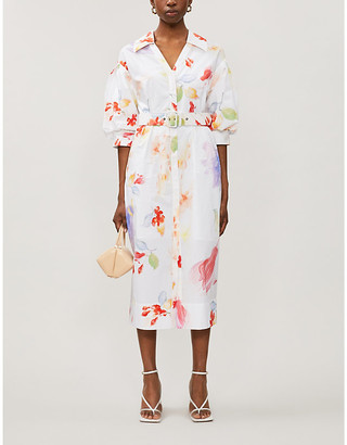 Peter Pilotto V-neck floral-print cotton midi dress