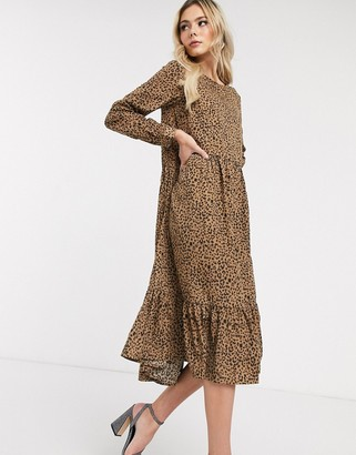NEVER FULLY DRESSED trapeze maxi dress with ruffle hem in leopard print