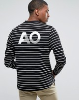 Asos Relaxed Long Sleeve Stripe T-Shirt With AO Print