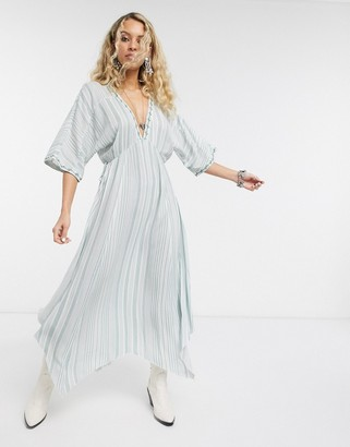 En Creme midi tea dress with delicate embroidery in stripe