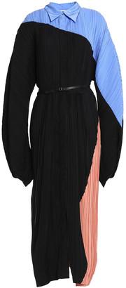 Jil Sander Belted Color-block Plisse-silk Midi Dress