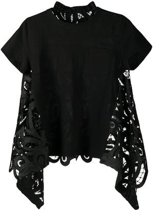 Sacai lace panelled T-shirt