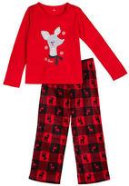 Petit Lem Holiday Two-Piece Reindeer Printed Roundneck Tee and Pajama Pants Set