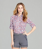 Cremieux Floral-Print Roll-Tab Blouse