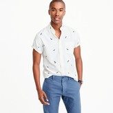 J.Crew Short-sleeve lightweight oxford shirt with embroidered macaws
