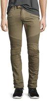 Balmain Slim-Fit Denim Biker Jeans, Khaki