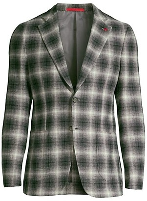 Isaia Plaid Wool & Cashmere-Blend Sportcoat