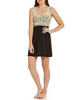 Cinema Etoile Brushed Knit & Metallic Lace Chemise