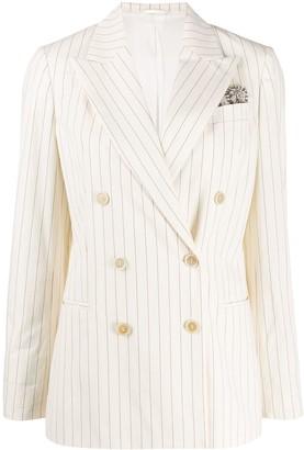 Brunello Cucinelli Double Breasted Striped Blazer