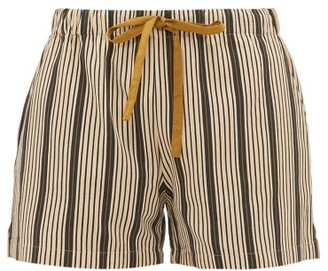 Marios Schwab On The Island By Sennen Striped-twill Shorts - Womens - Green Stripe