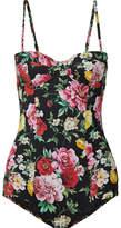 Dolce & Gabbana Floral-print Balconette Swimsuit - Black