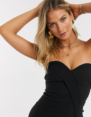 Vesper bandeau midi dress with seam detail in black