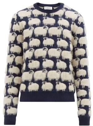 Lanvin Sheep Jacquard Crew Neck Sweater - Mens - Navy