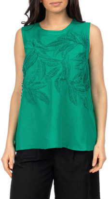 PINGPONG Embroidered Sleeveless Top