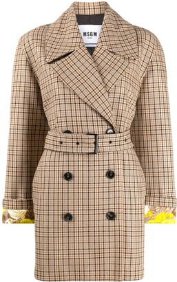 MSGM Checked Belted Coat