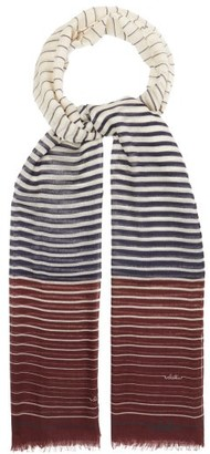 Valentino Striped Cashmere-blend Scarf - Womens - Navy White