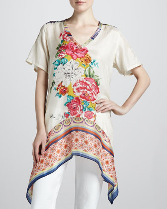 Johnny Was Collection Floral-Print Georgette Tunic, Print A