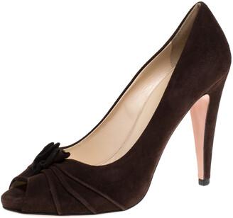 Prada Brown Suede Leather Flower Peep Toe Platform Pumps Size 38