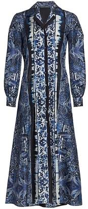 Alberta Ferretti Azulejos Printed Silk Dress