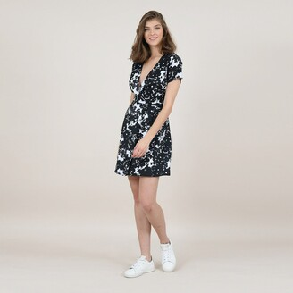 Molly Bracken Wrapover Mini Dress in Floral Print with Short Sleeves