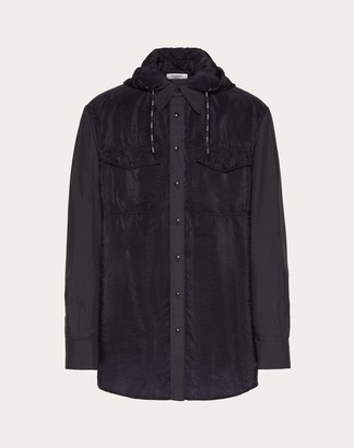 Valentino Nylon Shirt With Vltn Drawstring Man Dark Blue 68% Cotone, 32% Poliammide 41