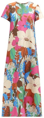 La DoubleJ Swing Big Flower-print Silk-twill Dress - Pink Multi